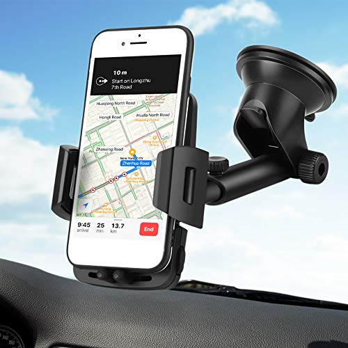 FoPcc Car Phone Holder, Dashboard Cell Phone Mount for Car Windshield with Adjustable Long Arm Strong Suction Cup Compatible with iPhone Xs, XR, X, 8, 8Plus, 7, 7Plus, Galaxy S8, S9, S10, Google More