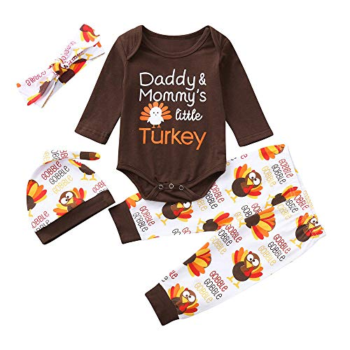 SUJING Baby Boys Girls Outfit Set Long Sleeve Pumpkin Romper Pants and Hat Baby Halloween Tops Pant Romper (Brown, 24M) -