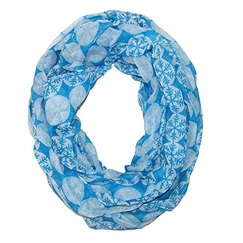 David & Young Womens Snowflake Print Holiday Infinity Loop Scarf, Blue