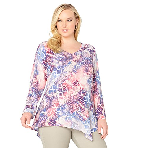 AVENUE Women's Blur Patch Asymmetrical Hem Top, 14/16 Multi Color