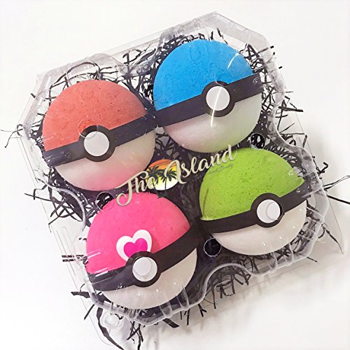 Price comparison product image 4 Pokeball Surprise Bath Bomb Gift Set - XL 5.5 oz each-The Island Bath & Body-Made In USA- Shea & Cocoa Butter
