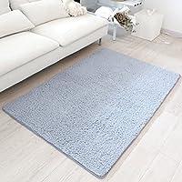 Vdomus Soft Modern Shag Area Rug for Kid, Smooth Carpet Floor Mat, 3.3 Feet by 5.3 Feet, Bluish Grey