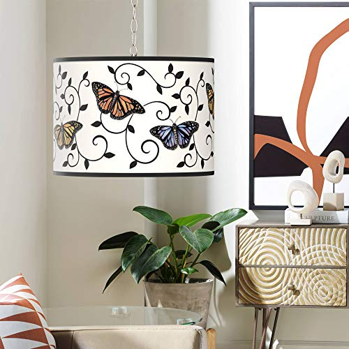 Swag Style Butterfly Scroll Shade Plug-in Chandelier - Giclee Gallery