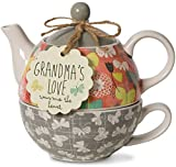 Pavilion Gift Company 74071 Bloom Grandma's Love Ceramic Tea for One, 15 oz, Multicolor