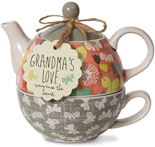 Pavilion Gift Company 74071 Bloom Grandma's Love Ceramic Tea for One, 15 oz, Multicolor