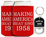 60th Birthday Gifts Making America Great Since 1958 2-pack Can Coolies & Bottle Opener Keychain Bundle
