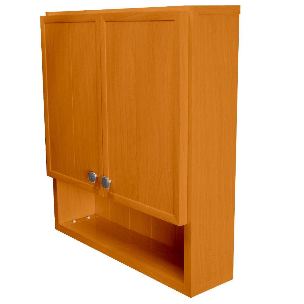 Waterproof Over the Toilet Bathroom Cabinet, 2 Door, (23 3/8 inch wide, 7 inch deep, 26 inch tall) Open Shelf