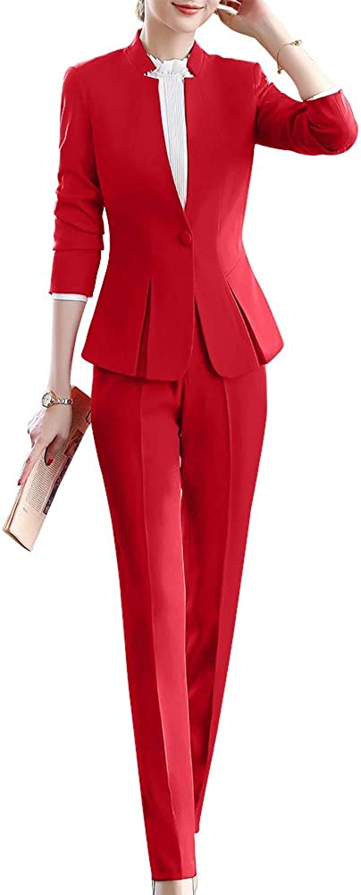 Women's Elegant Blazer Suit Two Pieces Office Lady Business Set Work Blazer Jacket,Pant/Skirt