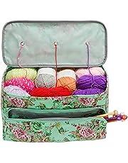 Knitting Storage Bag, SUNJULY Portable Crochet Yarn Storage Bag Organizer with Holes Knitting Bag Prevent Tangling Totes