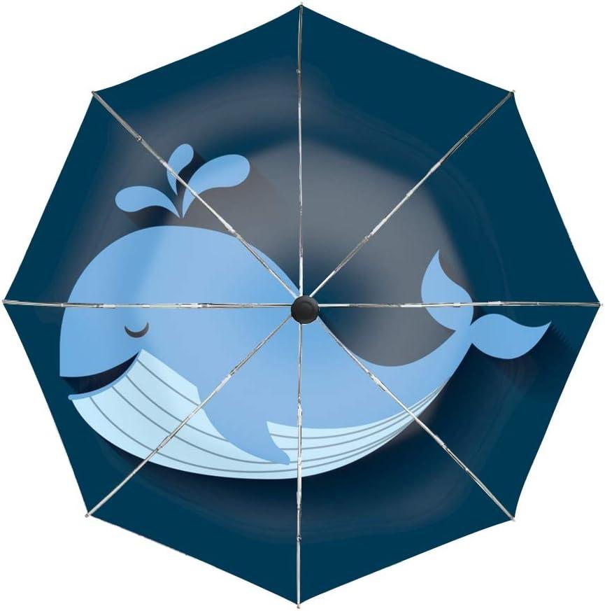 Automatic Compact Travel Umbrella Teflon Auto Open Close Folding Strong Windproof Tender Cute Whale Icon Umbrella
