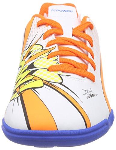 Puma evoPOWER 4.2 POP IT Jr - Zapatillas deportivas para interior de material sintético Niños^Niñas blanco - Weiß (white-orange clown fish-electric blue lemonade 01)