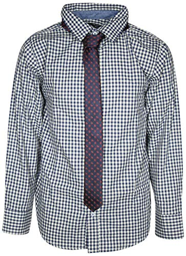 Ben Sherman Boys Long Sleeve Shirt Tie Set, White Plaid, Size 10/12'