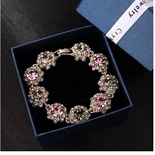 - Royarebar Elegant Cosmetics Bracelet Korean Style Fashion Extravagance Flash Rhinestone Vintage Bracelet Crystal Bracelet(Grey and Pink)