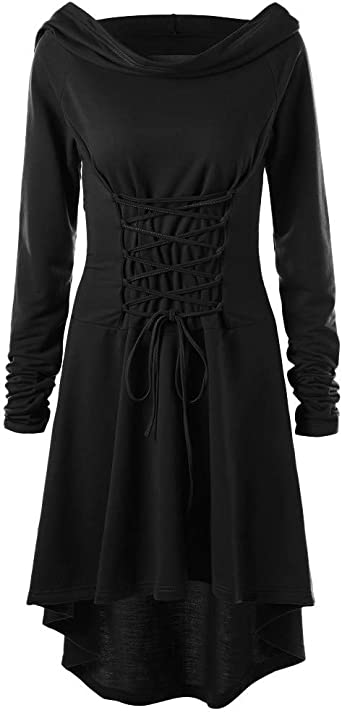 JURTEE Women Plus Size Gothic Dress Lace-Up Asymmetric Hem Slim Fit Vintage Long Sleeve Dress