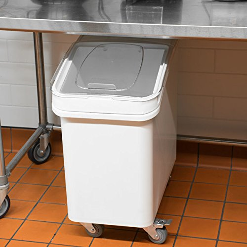 - TableTop King 27 Gallon White Mobile Ingredient Storage Bin with Lid
