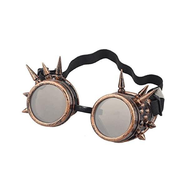 Leegoal(TM) Unisex Vintage Steampunk Goggles Spiked Gothic Welding Cyber Punk Gothic Cosplay Glasses 3