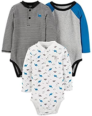 Carter's Just One You Baby Boys' 3 Pack Long Sleeve Dino Bodysuit Set- Blue