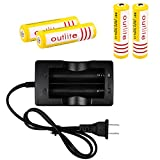 Outlite 18650 Batteries with Intelligent Plug Charger: 4pcs 3.7V 18650 3600mah Rechargeable Lithium Batteries & 1pc Efficient Charger
