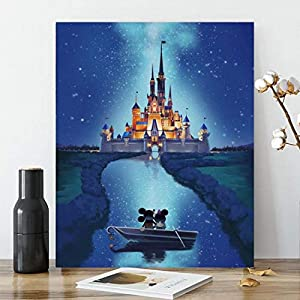 Karyees 16x20In Castle Paint by Numbers Kits Castle DIY Painting by Numbers Castle DIY Canvas Painting by Numbers Acrylic Painting Kits Paint by Numbers for Adult and Kids Castle Painting Picture