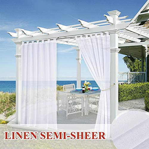 StangH White Sheer Curtain 84 inches Long - Outdoor Privacy Sheer Voile Panel with Tab Top, Waterproof Drapery with Free Rope Tieback for Patio/Proch, W54 by L84 inch, 1 Pc (Sheer Outdoor Semi Curtains)