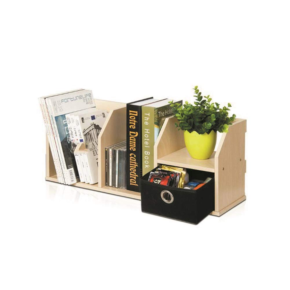 XUERUI オープンシェルフラック デスクトップ小さな本棚クリエイティブウッドブック棚収納デスクオーガナイザーファイル棚付き引き出し本棚オフィス寝室 多機能 B07TGKT9BV