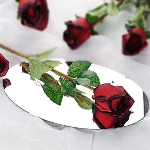 Efavormart 24 pcs Single Stems Artificial Roses for DIY Wedding Bouquets Arrangements Party Home Decorations - Black and Red