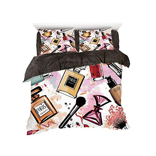 iPrint Flannel Duvet Cover Set 4 Pieces Bedlinen Winter Holiday for Bed Width 6ft Pattern by,Girls,Cosmetic and Makeup Theme Pattern with Perfume Lipstick Nail Polish Brush Modern Lady,Multicolor