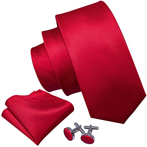 Barry.Wang Solid Color Red Ties for Men Silk Handkerchief Cufflink