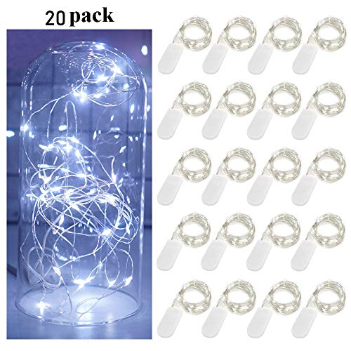 Decem Fairy String Lights, 20 Pack 6.6ft 20 Micro Starry LED String Lights Battery Powered Waterproof Silver Wire Firefly Lights for DIY Wedding Party Jars Christmas Home Decoration (Cool Wihte) (Powered Battery Party Lights String)
