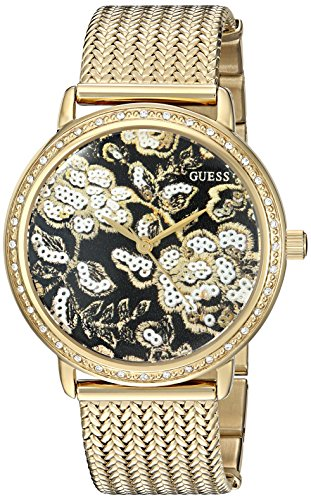 GUESS Women's U0822L2 Trendy Gold-Tone Watch with Black Dial , Crystal-Accented Bezel and Mesh G-Link Band
