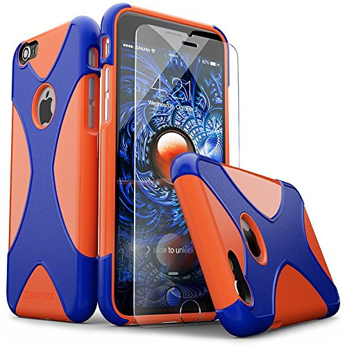 Summit Combination - iPhone 6 Case, iPhone 6s Case, Orange Blue SaharaCase X-Case Protection Kit withBonus ZeroDamage Tempered Glass Screen Protector [120 Mix-Match Color Combinations] 3-Layer Protective Design