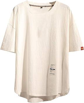 Karinao – Camiseta básica para hombre con cuello redondo vintage, efecto de cuello monocromo, algodón y lino: Amazon.es: Instrumentos musicales