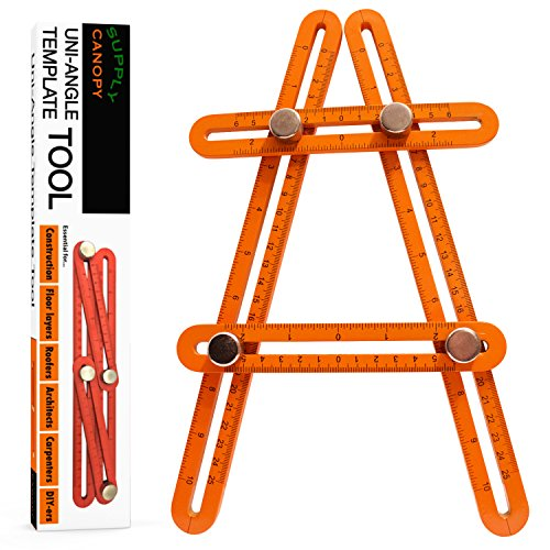 Universal Angle Template Measuring Tool Ruler, Bright Visibility ORANGE Heavy Duty Premium All Aluminum Construction, Easy Adjustable Anglerizer Template Tool for Masonry Builders Handymen Carpenters by UNI-ANGLE (Image #6)