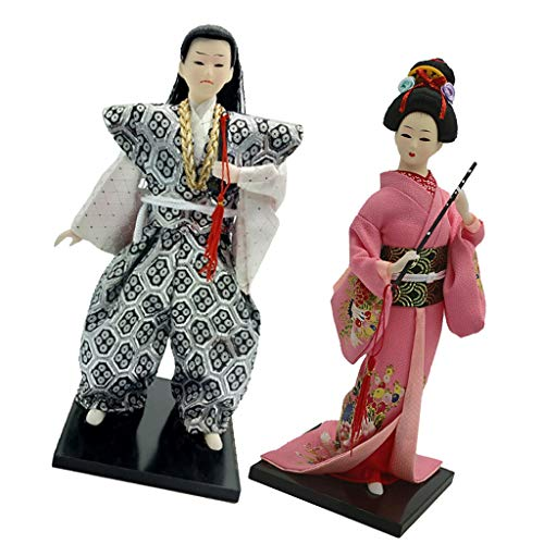 Prettyia 12inch Vintage Japanese Samurai Doll & Geisha Kimono Oriental Dolls Model