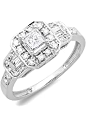 0.75 Carat (ctw) 14k White Gold Round & Baguette Cut Diamond Ladies Engagement Bridal Ring 3/4 CT