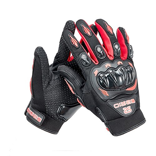 Wonzone Motorcycle gloves Full finger for Road Racing Bike Summer Spring Powersports Racing MTB BMX ATV Off-Road Sports Gloves (Red, Large)