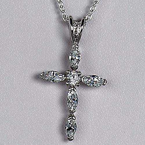Sterling Silver Marquis CZ Cross Pendant Italian Religious Charm 925 Vintage Crafting Pendant Jewelry Making Supplies - DIY for Necklace Bracelet Accessories by CharmingSS