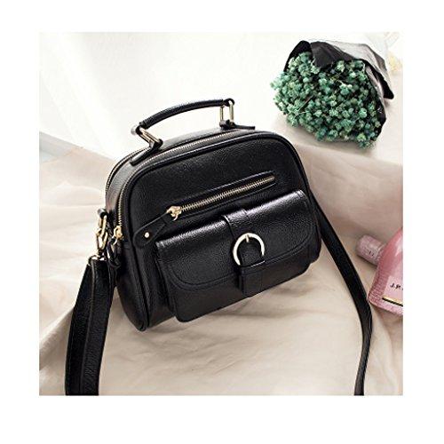 Zaino delle donne delle signore delle donne 2017 in autunno e in inverno le borse di cuoio delle signore di cuoio delle borse del pacchetto del twill pack (24 * 21cm) (nero)