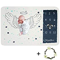Lemonda 40 X 60 Premium Fleece Monthly Baby Milestone Blanket,Photo Prop Blankets Backdrop,Infant Newborn Baby Swaddling Shower Gifts,Watch me Grow Blanket (Unicorn)