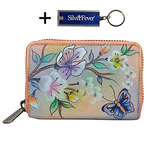 Anuschka Leather Credit Business Card Holder, Handpainted , With Key Foab, Gift Boxed (Japanese Garden) (Card Business Japanese)