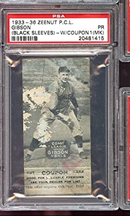 1933 Zeenut Pcl Pcl With Coupon Gibson Psa 1 Mk Graded Baseball