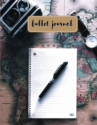 Bullet journal: quarterly planner with blank yearly & monthly calendar, and habit tracker, 120 dot grid & 15 lined pages, 8.5x11in, map travel ... large diary journal to write in everyday life