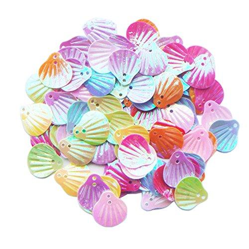 ZIJING 300 pcs Cute Adroable Mix Color Sea Shell Shape loose sequins Spangles Paillettes DIY Scrapbooking Craft Applique Embellishment (Scrapbooking Confetti)