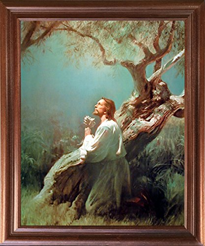 - Impact Posters Gallery Framed Wall Decoration Jesus Christ Praying at Gethsemane Mahogany Framed Picture Art Print (18x22)