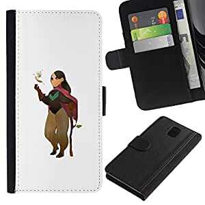 ZCell / Samsung Galaxy Note 3 III / Cartoon Character Girl Nature Tree Love / Caso Shell Armor Funda Case Cover Wallet / Historieta caráct