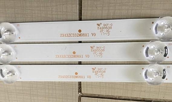 Complete LED Backlight Strip Set ZX43ZC332M08A1 V0 for ONN ONC18TV001