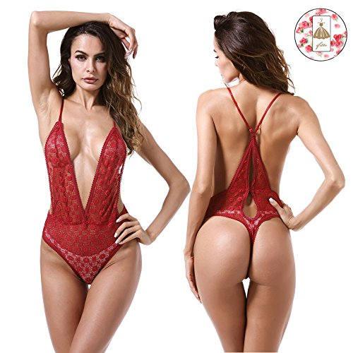 Lace Stretch Bodysuit - ifitto Women V-Neck Lingerie Mesh Chemises Lace Mini Babydoll Nightwear Outfits