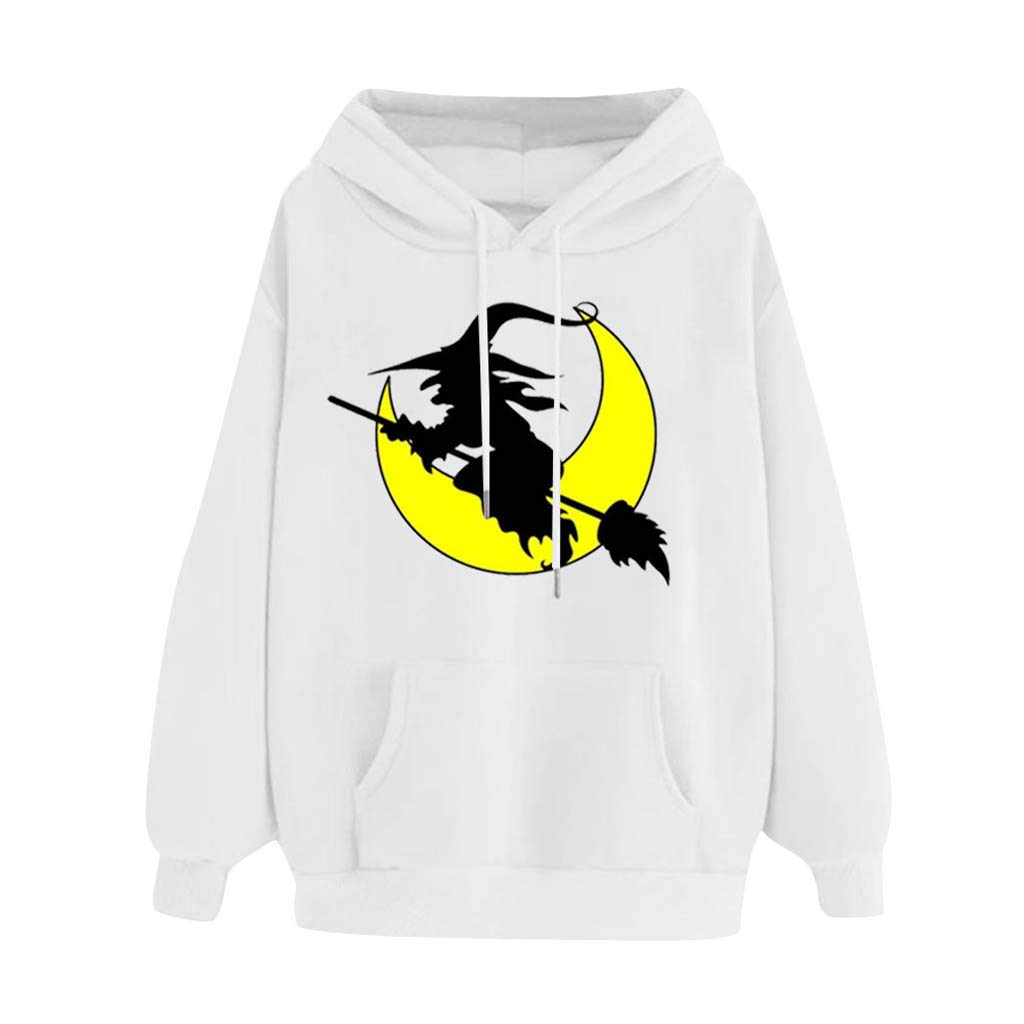 Women's Halloween Witch Moon Pattern Print Long Sleeve Hooded Sweatshirts Casual Pullover Tops (White,M) by TozuoyouZ