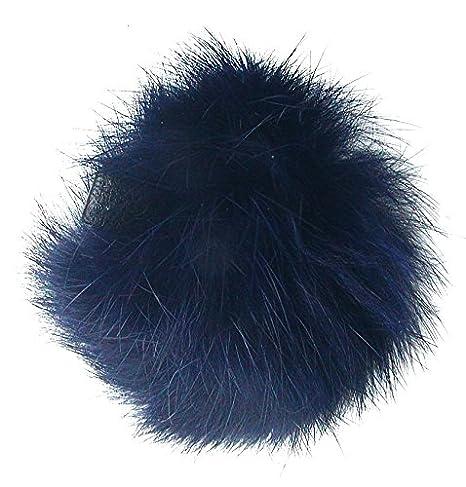 Ensuite Echt Kaninchenfell Fellbommeln dunkelblau, Ø ca. 5 cm, mit Lederschlaufe