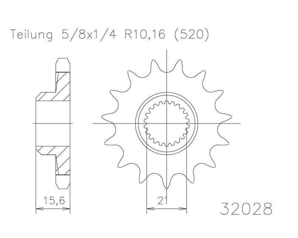 5//8/X 1//4 Pignone a 14/denti in acciaio 520er suddivisione